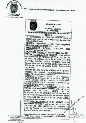 El Municipio llama a concurso de precios para la compra de una mini pala cargadora
