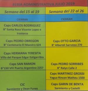 Nómina de Salas de Salud que estarán cerradas por la feria administrativa de Julio