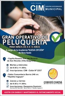 Operativo municipal de peluquería en la antesala del comienzo de clases