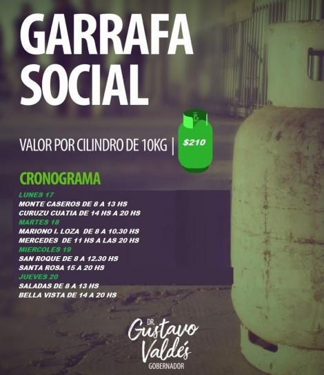 Garrafa Social a 210 pesos