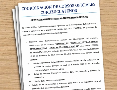 Apertura de sobres por servicios para los Carnavales Curuzucuateños 2020