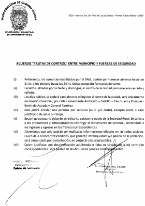 Acuerdo de pautas de control entre Municipio y Fuerzas de Seguridad