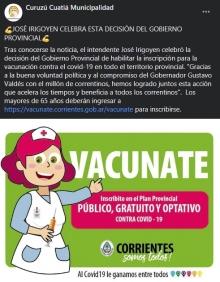 Irigoyen celebra la apertura de inscripción para que los mayores de 65 años puedan vacunarse