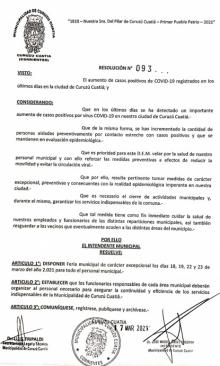 Para resguardar la salud de los municipales, Irigoyen declaró una feria administrativa